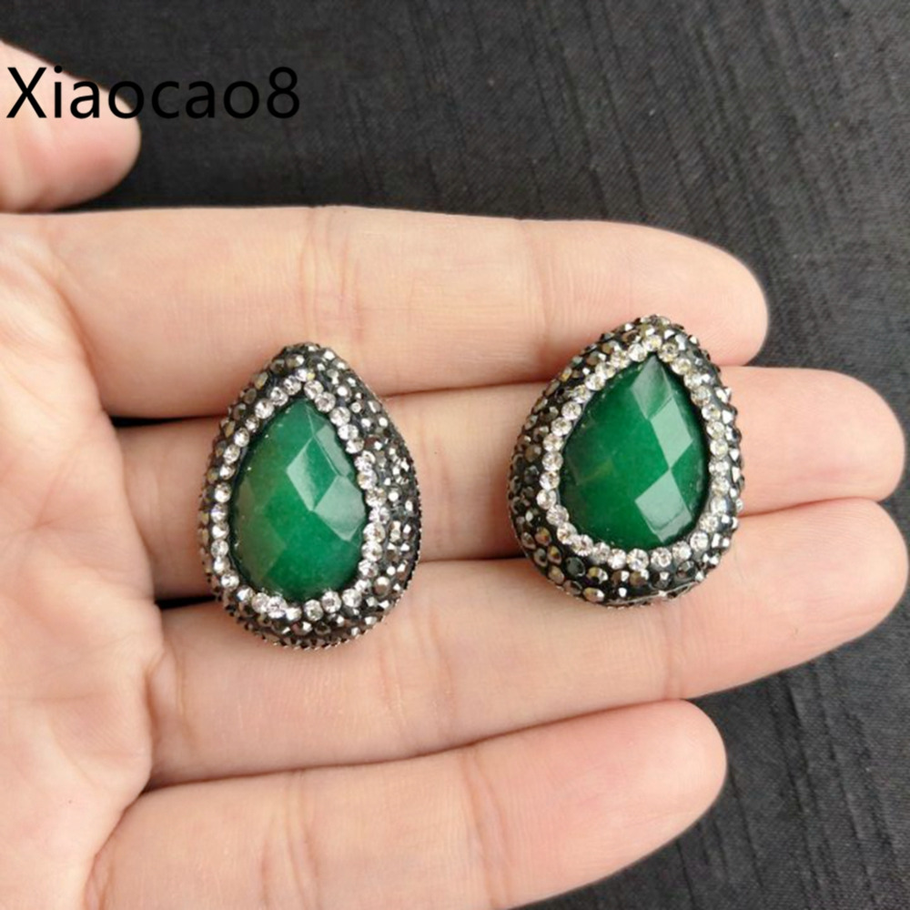 Water Drop Green Stone Stud Earrings with Black Rhinestone Women Fashion Jewlelry Costum ...