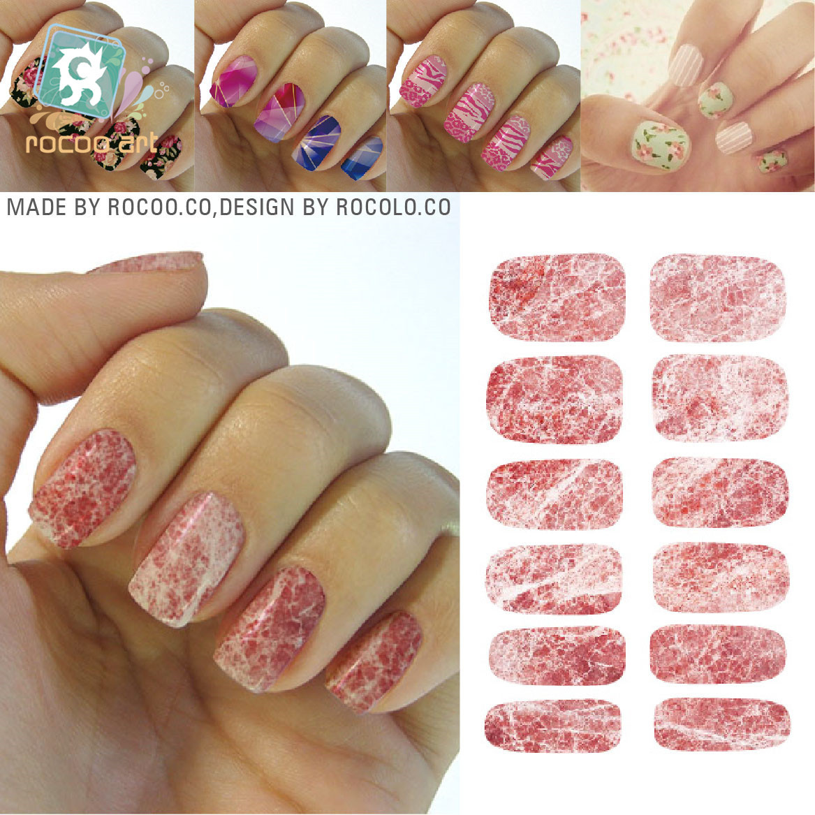 №Hot water transfer printing marble texture pattern Manicure full ...