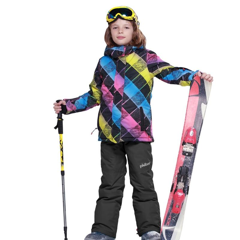 2018 Boys Ski Set Children Snow Suit Waterproof Windproof Kids Winter Warm Snowboard Outdoor Sport Suits for Girls Jacket vector warm winter ski jacket girls windproof waterproof children skiing snowboard jackets outdoor child snow coats kids