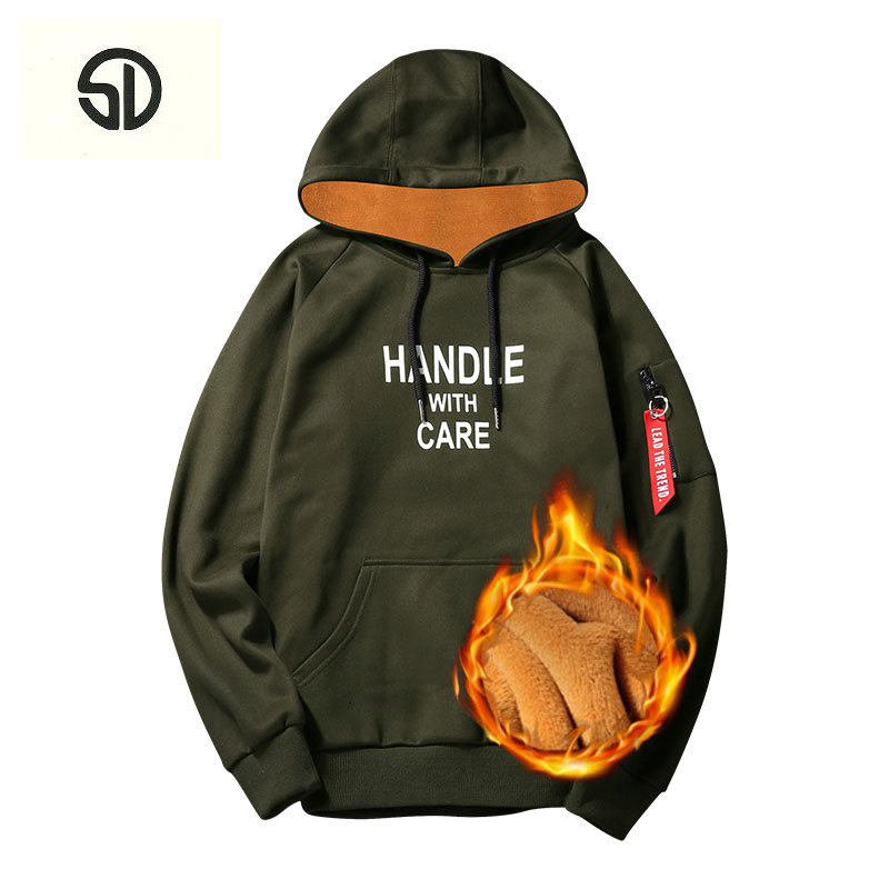 Hoodies Men Thick Fleece Fur Inside Casual Long Sleeve Printed Hooded Pullover Sweat Hip Hop High Streetwear Sweatshirt Men 2018
