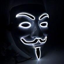 Masque d'halloween Vendetta EL Wire | Masque clignotant Cosplay, masque anonyme Costume néon pour masques lumineux de danse de carnaval