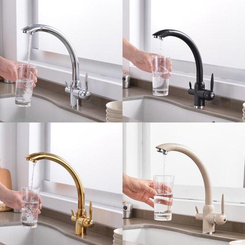 Robinet de cuisine 3 voies double support double trou filtre eau robinet de cuisine Chrome noir doré robinet d'eau potable - 2
