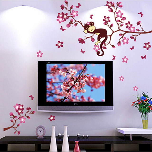 Large wall decal peach monkey trees butterfly living room bedroom ...