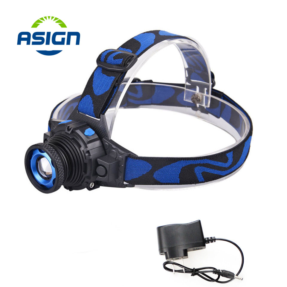 Headlamp Cree Q5 Waterproof LED Headlight High Bright Built-in Lithium Battery Rechargeable Head lamps 3 Modes Zoomable Torch