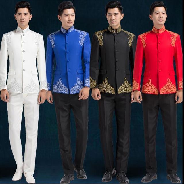 פזמון mariage חליפות חתונה חתן לגברים בני ליזר חליפת טוניקה הסינית מעיל חליפות האופנה slim האחרון לנשף אדום רקמה