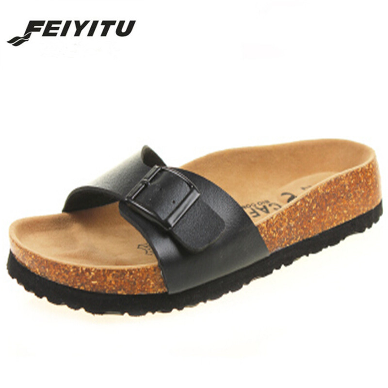 FeiYiTu New 2018 Summer Men Sandals Flats Cork Slippers Casual Shoes Print Mixed Colors Slides Flip Flop Plus Size 35-43(China)