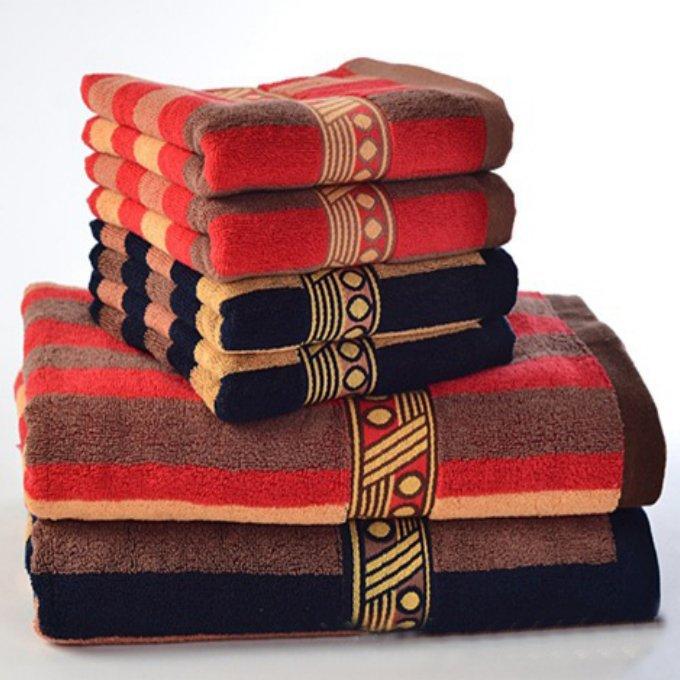 Jzgh 3pcs Bohemia Cotton Bath Towels Sets For Adults Striped Elegant Decorative Terry Beach Bath