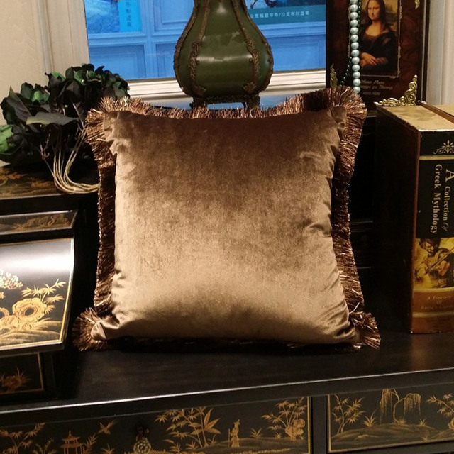 Free Shipping Solid Brown Turquoise Blue Shiny Soft Velvet Cushion Cover Fringe Pipping Decorative Sofa Pillow