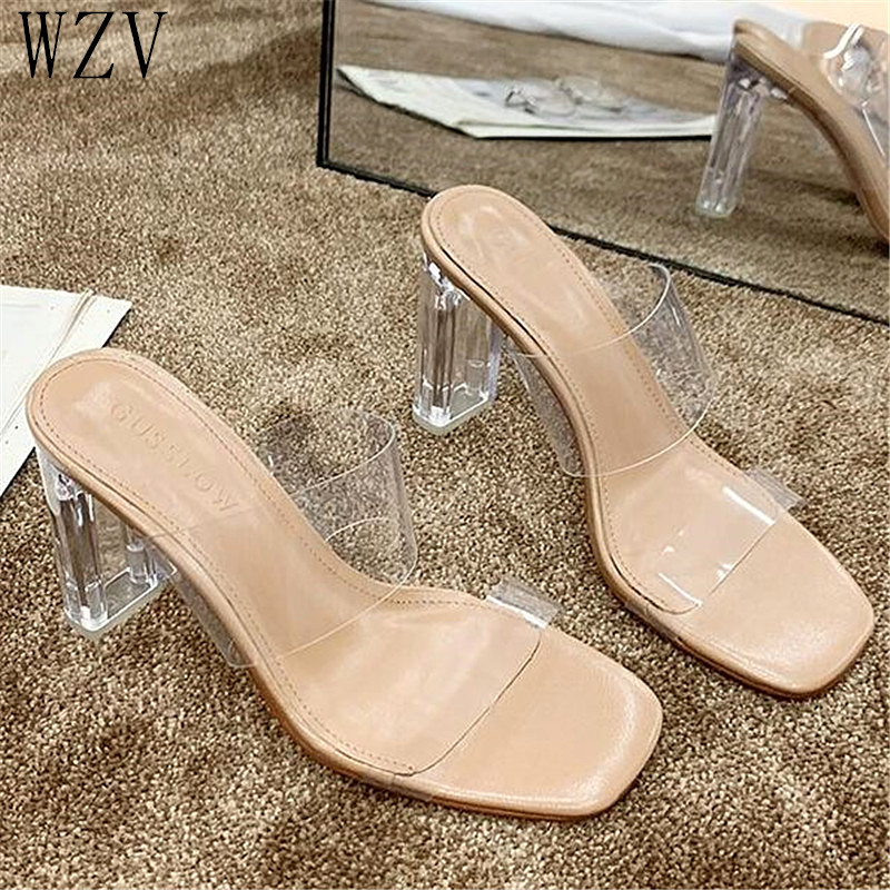 Summer Women Slipper Crystal PVC High Heels Transparent Women Slippers Shoes Flip Flop  Sandals Sexy Slide Shoes Woman E947