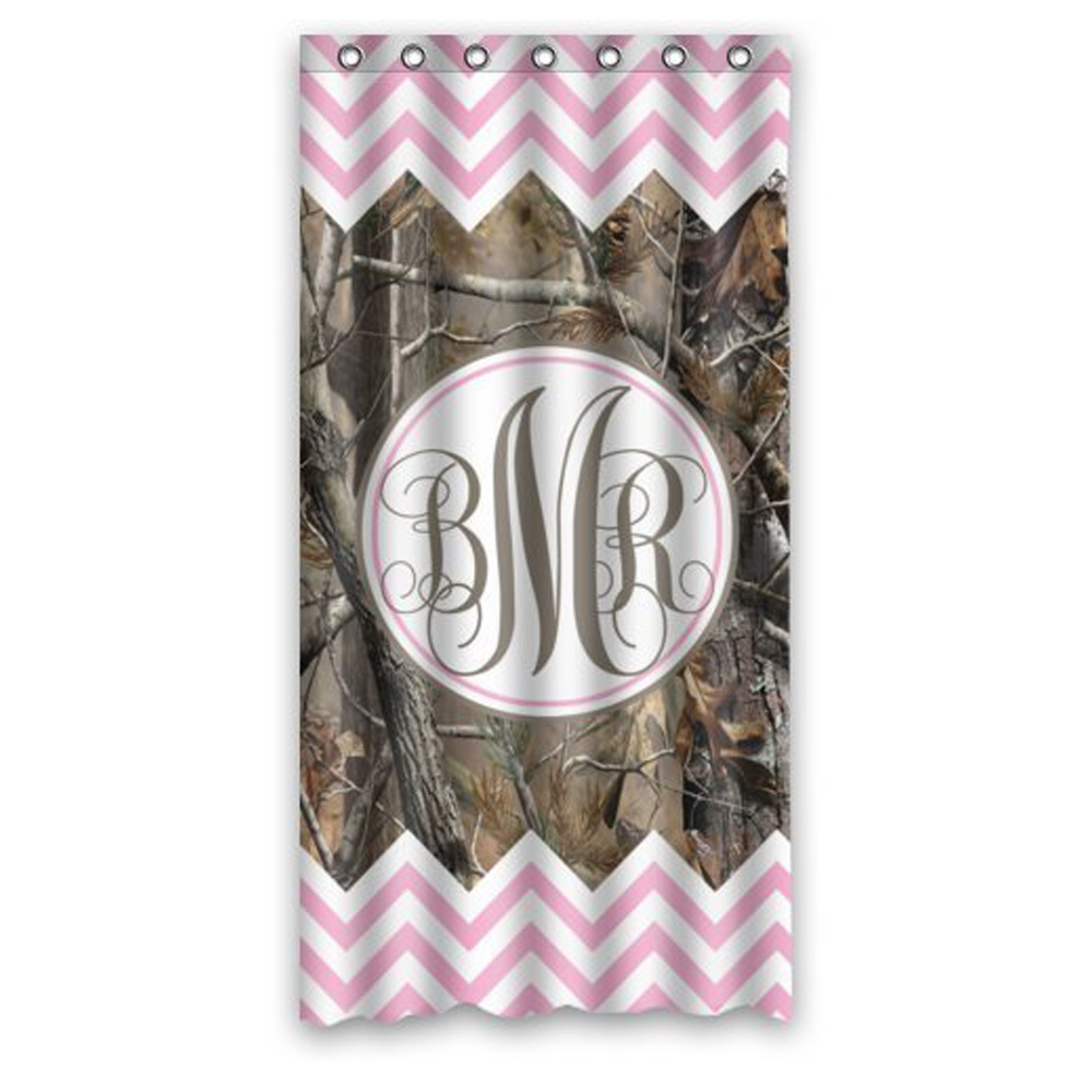 Light pink chevron curtains -  36 X 72 Inch Stylish Living Elegant Girl Light Pink And White Chevron And Camo Monogram Bathroom Shower Curtain