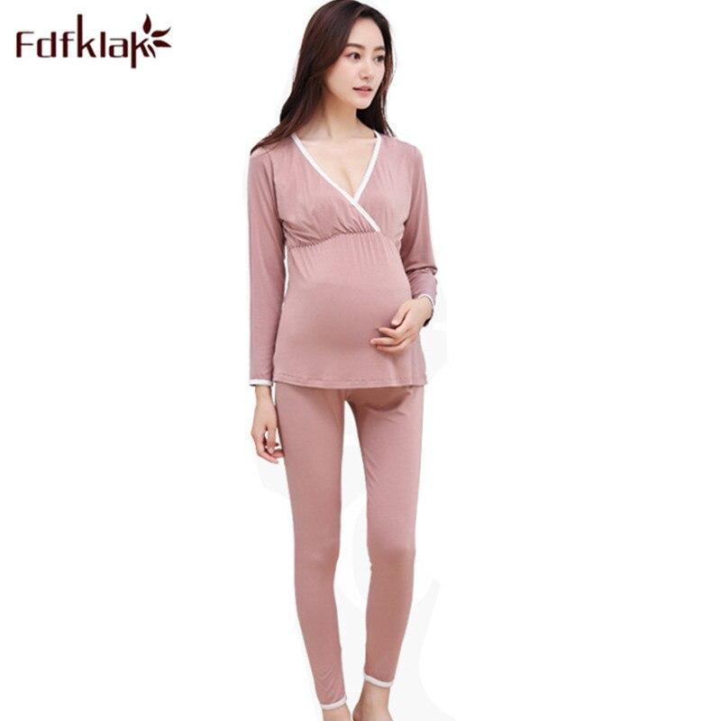 Fdfklak Maternity Sleepwear Spring Autumn Long Sleeve Nursing Pajamas Pregnancy Nightwear Cotton Breast Feeding Clothes F204