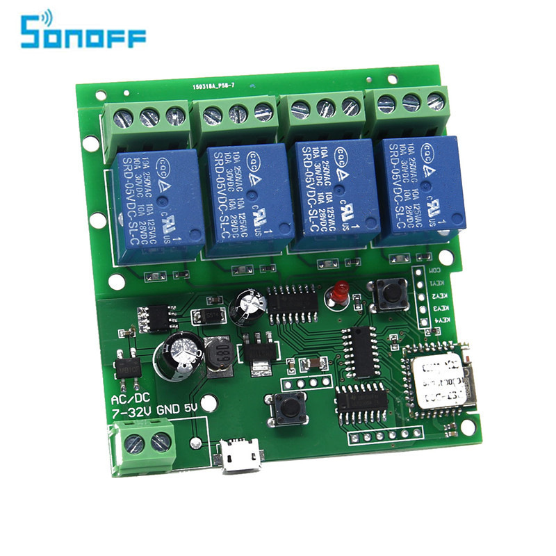 SONOFF USB 5V Or DC 7V-32V DIY 4 Channel Jog Inching Self-locking WIFI Wireless Smart Home Switch APP Remote Control 220v 4 channel wifi relay module phone app wireless remote control wifi switch jog self lock interlock 433m for smart appliances