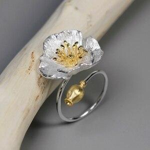 Женское Винтажное кольцо с большим цветком мака INATURE, регулируемые обручальные кольца из стерлингового серебра 925 пробы