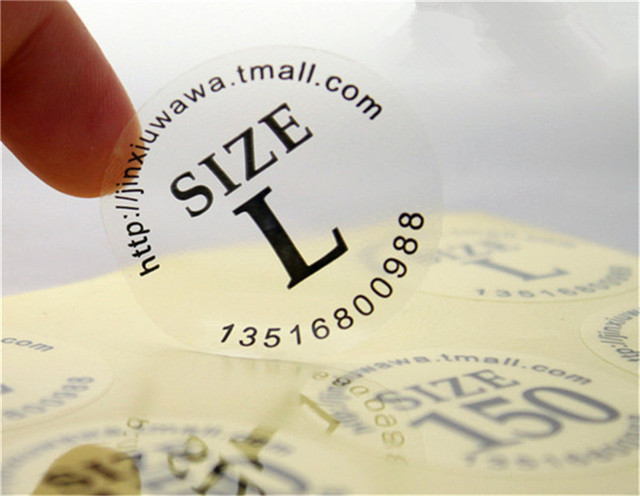 1000pcs customized digital printed clear size labels stickers custom vinyl transparent pvc adhesive stickers