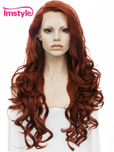 "Imstyle Wavy Synthetic Dark Red color 26 ""peluca delantera de encaje"