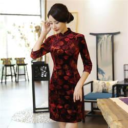 Шанхай история китайский стильное платье бархат Qipao платье oriental стильное платье с рукавами 3/4 cheongsam для женщин