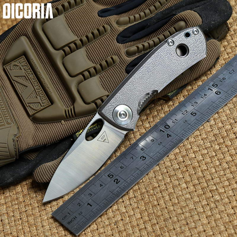 DICORIA District9 E170 Sandvik 14C28N blade titanium handle tactical folding knife camping outdoor gear survival tool EDC knives edc gear outdoor 6 slot design tool box with blade saw opener bar code sheet s carabiner