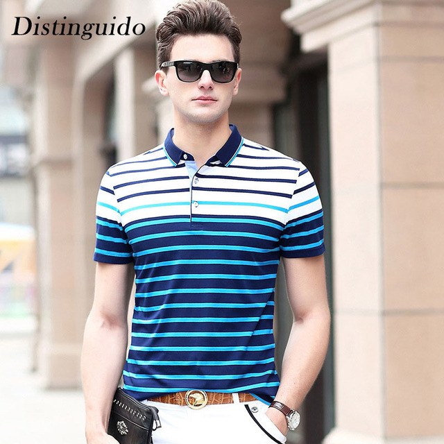 5bca5f603c7 Fashion Men s Short Sleeves Turn-Down Collar Striped Spring Summer Smart  Casual T-Shirt Male Cotton Clothing MST093