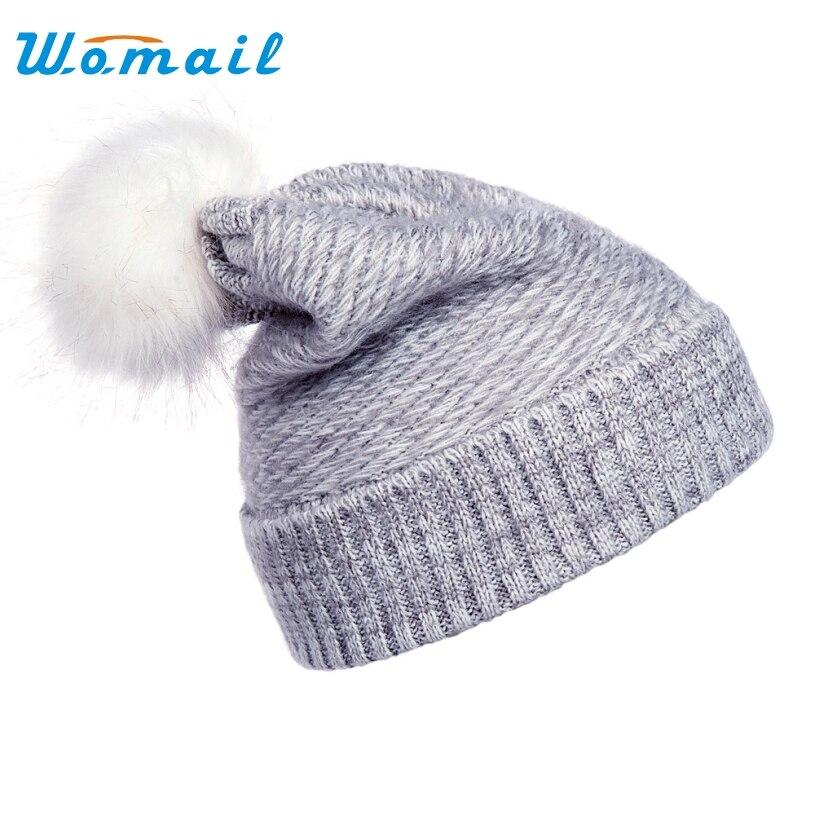 Womail Womens Hat 2017 Casual Skullies Beanies Knitting wool Winter Hats For Women ball Hat Beanie Cap skullies