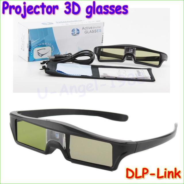 Atacado 2 pcs óculos de obturador ativo 3d dlp link-dlo óculos 3d para optoma projetores sharp lg acer benq w1070 frete grátis