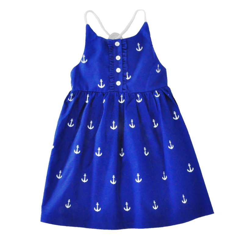 29cffeaba1f0 Baby girl party dress summer 2017 Navy Anchor kids Halter dresses ...
