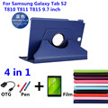 360 rotating litchi pele case capa para capa de couro para samsung galaxy tab s2 t810 t815 9.7 ''tablet capa + film + stylus + otg