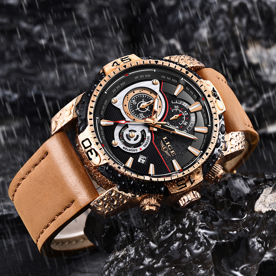 HTB1EoiSXyHrK1Rjy0Flq6AsaFXaw LIGE Mens Watches Top Brand Luxury Casual Leather Quartz Clock Male Sport Waterproof Watch Gold Watch Men Relogio Masculino