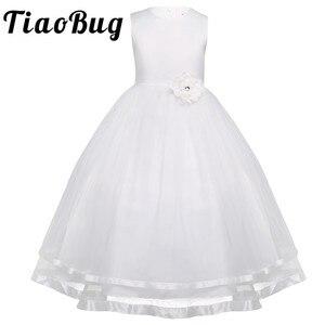 Image 1 - TiaoBug Blume Mädchen Kleider Heilige Kommunion Kleid Weiß Blau Tüll Vestidos Pageant Kleider Für Kleine Mädchen Ballkleid 2 14Y