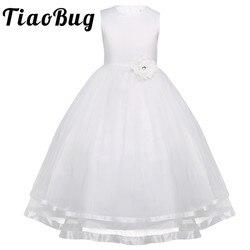 TiaoBug Flower Girl Dresses Comunhão Vestido Branco Azul Tule Vestidos Pageant Vestidos Para As Meninas de Baile 2-14Y