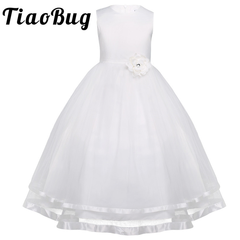TiaoBug Flower Girl Dresses Holy Communion Dress White Blue Tulle Vestidos Pageant Dresses For Little Girls Ball Gown 2 14Y-in Flower Girl Dresses from Weddings & Events