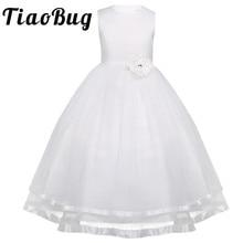 TiaoBug Flower Girl Dresses Holy Communion Dress White Blue Tulle Vestidos Pageant Dresses For Little Girls Ball Gown 2 14Y