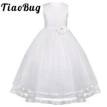 TiaoBugชุดเดรสดอกไม้Holy Communionสีขาวสีฟ้าTulle Vestidos Pageantชุดสำหรับสาวน้อยชุดบอล2 14Y
