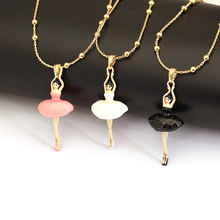 Les Nereides Lovely Dancing Ballet Girl Gem Necklace Enamel Good Quality Fashion Jewelry For Women