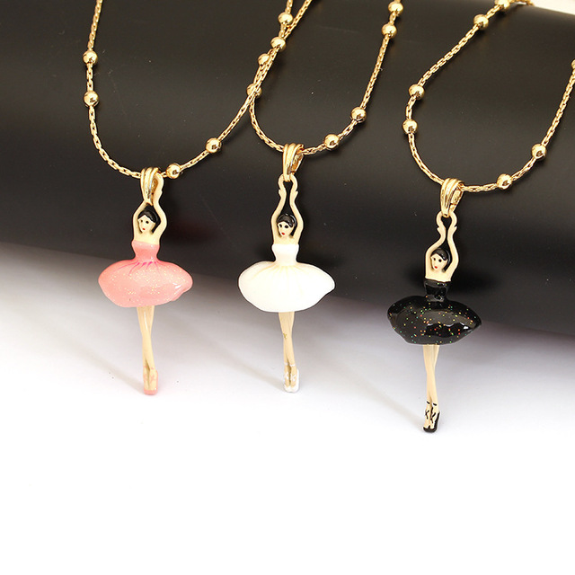 Les Nereides Lovely Dancing Ballet Gem Necklace Enamel Good Quality Fashion Jewelry For Women