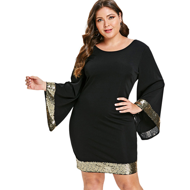 702f46326a5cc Wipalo Plus Size 5XL-L Bell Flare Sleeve Sequin Elegant Party Dresses Women  Black Night Club Bodycon Mini Short Dress Big Size