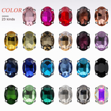 All size Oval Shape Glass Rhinestones With Claw Crystal AB Sew On Stone Strass Diamond Metal Base Buckle 50pcs/pack