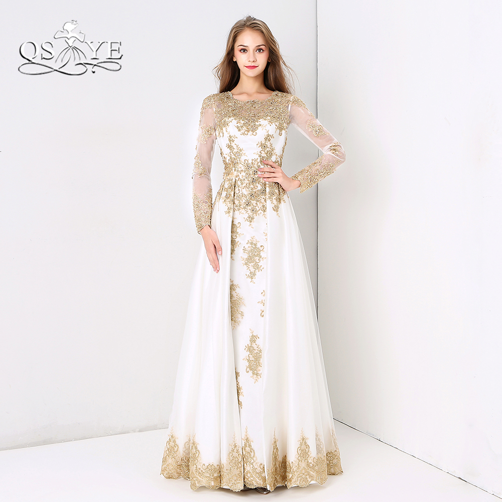 Vintage White and Glod Formal Evening Dresses 2018 QSYYE Lace Beaded ...