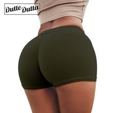 Duttedutta Kvinnor Yoga Shorts High Elastic Running Shorts Kompression Fitness Workout Solid Short Slim Fit Shorts Activewear