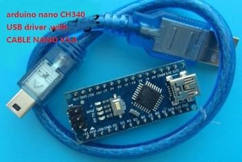 DHL gratuit. 100 pcs/lot. Soudé Nano 3.0 compatible avec arduino-o nano CH340 pilote USB. avec CÂBLE NANO V3.0