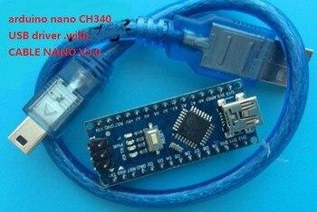 ¡Envío gratuito con DHL! ¡100 unids/lote! Controlador Nano 3,0 soldado compatible con arduin-o nano CH340 USB driver. Con CABLE NANO V3.0