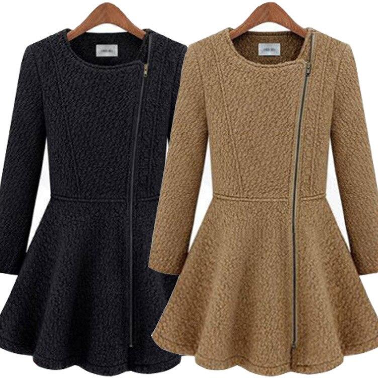 Womens Korean Wool Cashmere Flared Peplum Zip Tuxedo Blazer Jacket Coat Dress Slim Fit 3Colors