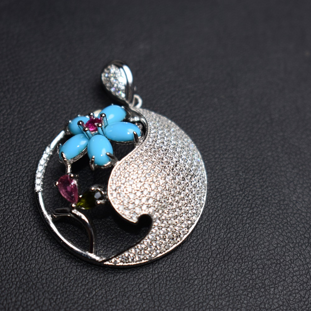 Fine jewelry Real 925 Sterling silver s925 solid silver 100% Natural Blue turuoqise unisex Pendant Necklace