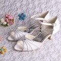Wedopus Низком Каблуке Дамы White Satin Peep Toe Невесты Летние Сандалии Размер 34 ~ 42 Настроены