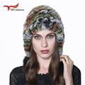 Luxury Autumn Winter Women's Genuine Real Knitted Rex Rabbit Fur Hats Handmade Lady Warm Caps Female Beanies Headgear W#03