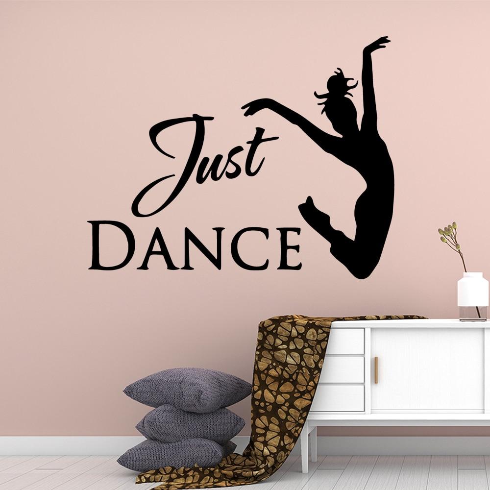 Fun just dance Girl Text Removable Art Vinyl Wall Stickers For Girl Bedroom Vinyl Decals Mural Female Sticker Wallsticker in Wall Stickers from Home Garden