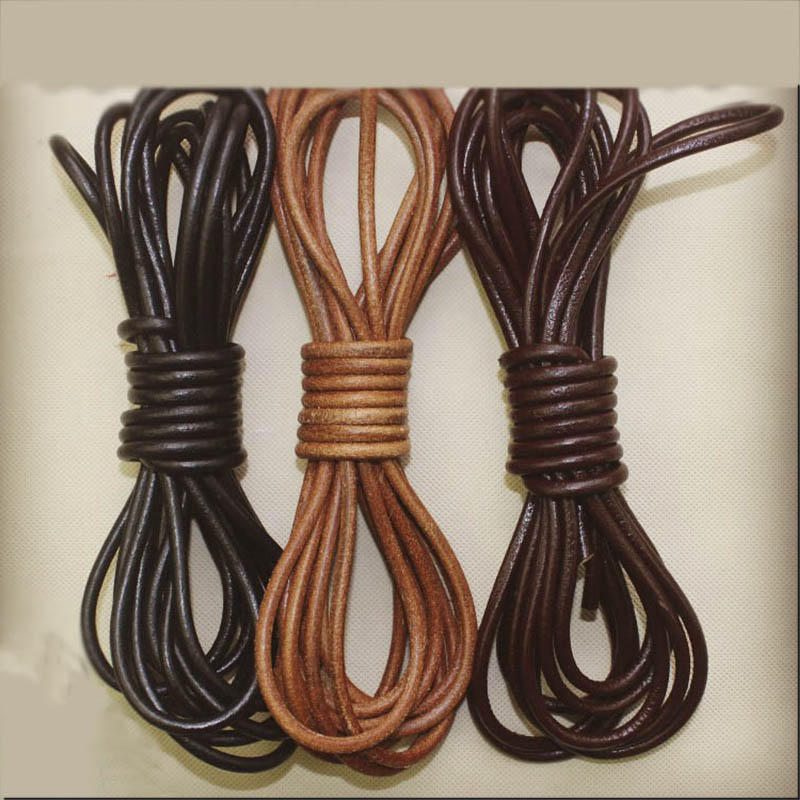 2meter/lot Genuine Leather Cord For Bracelet Jewelry Making Brown Black Round Cow Leather Rope 1.5/2/3/4/5/6/8mm Solid String