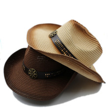 Moda mujer hombres paja Hollow sombrero de vaquero occidental Caballero  vaquera Jazz Iglesia Cap verano papá sombrero playa Sol . 89a7c7642b3