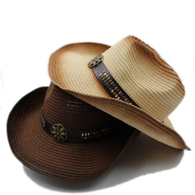 Moda mujer hombres paja Hollow sombrero de vaquero occidental Caballero  vaquera Jazz Iglesia Cap verano papá 6faf72b6974