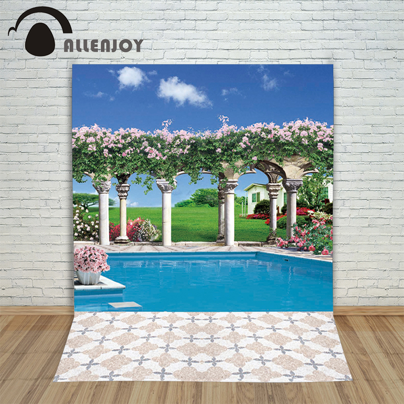 Allenjoy photographic background Swimming pool House flower meadow backdrops newborn kids studio photocall 8x8