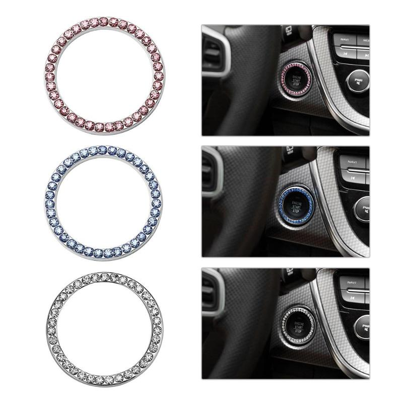 "HTB1Eojcq2uSBuNkHFqDq6xfhVXaM 40mm/1.57"" Auto Car Bling Decorative Accessories Automobiles Start Switch Button Decorative Diamond Rhinestone Ring Circle Trim"